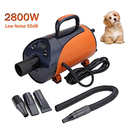 Paneltech 2800W Profi Hundefön Hundetrockner Leise Low Noise Hundepflege Haartrockner Einstellbare Wärme und Drehzahl Hundefön Blower Pet Dog Dryer (Orange) - Low-power-haartrockner