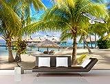 Fototapete 3D Effekt Tapete Kokosnussbaum Auf High - Definition - Seaside Beach Vliestapete 3D Wallpaper Moderne Wanddeko Wandbilder