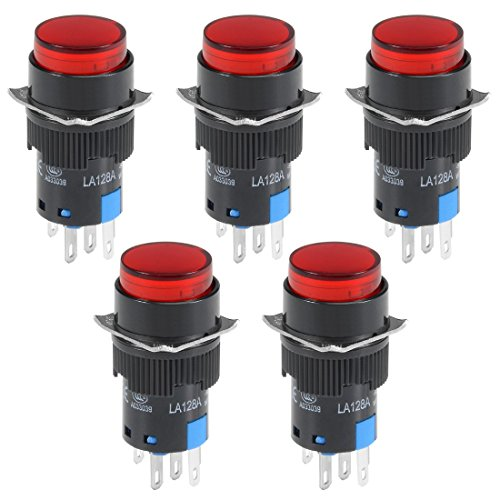 ZCHXD 5Pcs 16mm Momentary Push Button Switch Red LED Light Round Button 1 NO 1 NC Light 12V -