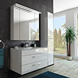 Modernes Badezimmer Möbel Set/mit Waschbecken/Spiegel- und Hochschrank/in weiss/hochglanz lackiert/Beleuchtung/Softclose System und Steckdose/fertig montiert/Qualität made in GERMANY