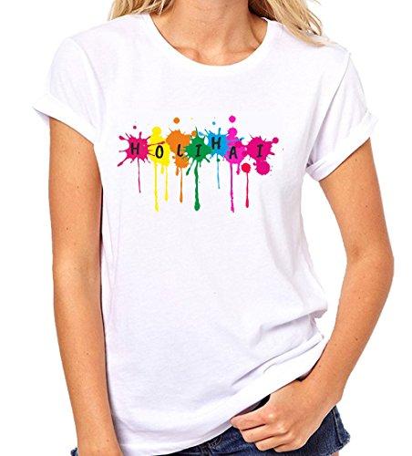 Crazy Sutra Premium Dry-FIT Polyester Unisex Half Sleeve Casual Printed Holi Special Tshirt |Funky Tshirts (T-HoliHai-IX_M-Women)