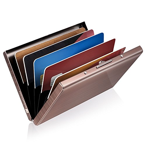GreatShield RFID Blocking/Blocker Aluminium Metall Kreditkarten/Visitenkarten Halter|Hülle|Etui|Brieftasche|Kartenbörse|Wallet|Card Holder|Case /Ausweis/EC/Bank-Karte NFC Schutz Damen/Herren-Rosegol