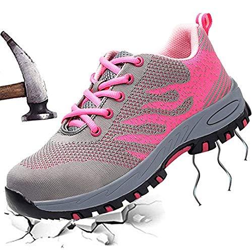 LP Scarpe Antinfortunistica Donna Leggere, Sneaker da Lavoro Traspirante Punta in Acciaio Scarpe Antiscivolo (Size : 35)