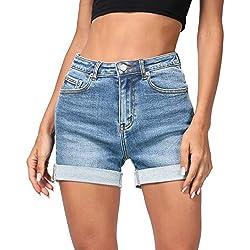 Hocaies Mujer Pantalones Cortos De Mezclilla con Cintura Alta