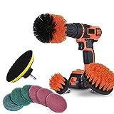 FunYake 10 Pezzi/Set Mattonella Stuccatura Elettrico Scrubber Pulizia Kit di Perforazione Ghiacciato Contenitore Pulizia Attrezzo - Rosso
