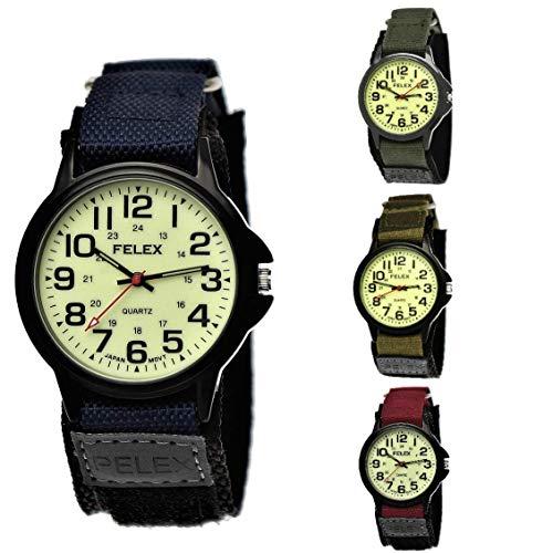 NY London Camouflage Kinder-Uhr Jungen-Uhr Mädchen-Uhr leuchtendes Ziffernblatt Kinder Analog Textil Nylon Armband-Uhr Schwarz Rot Blau Japanisches Qualitäts Uhrwerk (Blau - Schwarz)