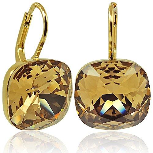 Ohrringe mit Kristallen von Swarovski Gold Braun Topas Ohrhänger NOBEL SCHMUCK