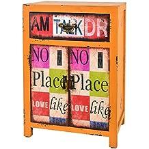 ts-ideen Container estantería cómoda de diseño estilo retro shabby industrial, color naranja