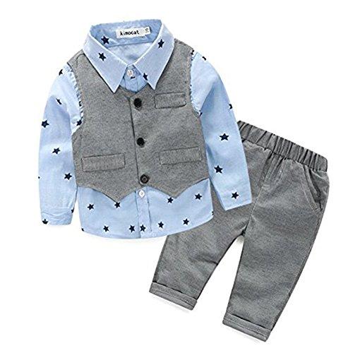 [Babyanzug für Jungen]Gentleman Bekleidungsset Baumwolle Babyanzug Langarm +Weste+Lange Hose Sommer Anzug Festliche Kleidung für Kleinkind-03A-90