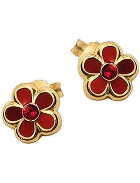 CLEVER SCHMUCK Goldene Ohrstecker Blume 6,5 mm rot abgestuft lackiert mit Zirkoniastein rubinrot mittig glänzend...