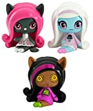 Monster High - Minis Rag Puppen Gesichter - Sammelpack - Clawdeen Wolf, a sparkling Candy Ghouls Abbey Bominable and an Original Ghouls Catty Noir Figures, 3 Pack