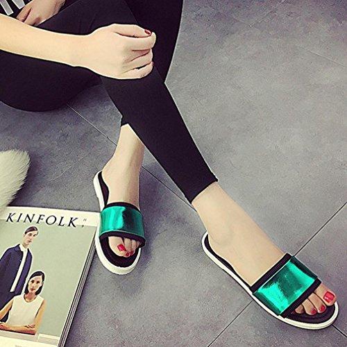 DM&Y 2017 Uno dei sandali parola femminile piatta con scarpe basse estate casuale pistoni della spiaggia Green