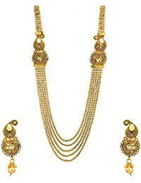 Zeneme Gold-Plated Multi-Strand Designer Jewellery Set / Necklace Set With Earring For Women/Girls