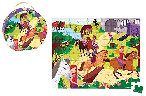 Janod J02876 Puzzle in Valigetta Rotonda, Equitazione, 100 Pezzi