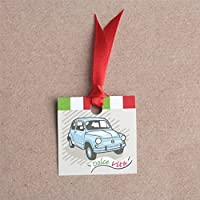"""Lot de 12 étiquettes forme carré thème Italie """"Dolce Vita"""" voiture italienne pour boites à dragées ballotins à dragées mariage baptême naissance communion"""