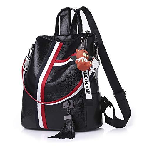 Damen Stripe Pu Leder Rucksack,Wild Große kapazität Umhängetasche,Schwarz Weiß Handtasche-schwarz 27x30x12cm(11x12x5inch) -