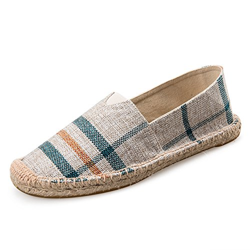 Alexis Leroy Checked Canvas Men Espadrilles Beige 9 UK / 43 EU