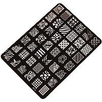 Demarkt Moda Imagen de placa de impresión estampación sellos manicura Nail Art decoración de uñas (negro 1)