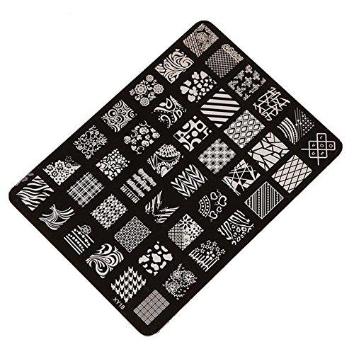 1Stück Stempel- und Druckplatte für Nägel von Vi.yo, Bildstempel, Werkzeug für Nailart-Deko, aus Edelstahl, gedruckte Modellvorlage, XY13, edelstahl, Stil 3, M