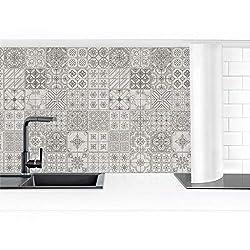 Bilderwelten Küchenrückwand Hart-Kunststofffolie Fliesenmuster Coimbra grau 50x300cm Premium