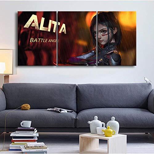 RuYun Leinwandbild Hauptdekoration 3 Alita Battle Angel Filmplakat Malerei Wand Kunstdrucke High-Definition - Wohnzimmer modulare Rahmen, Rahmenlos, 40cmx60cmx3pcs (Battle Board)
