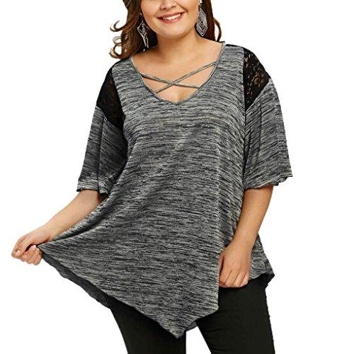 MRULIC Damen Tunika Frauen Große Größe Spitze Hemd Lange Hülsen Beiläufige Lange Shirt Oberseiten-Bluse Geschenk zum Muttertag