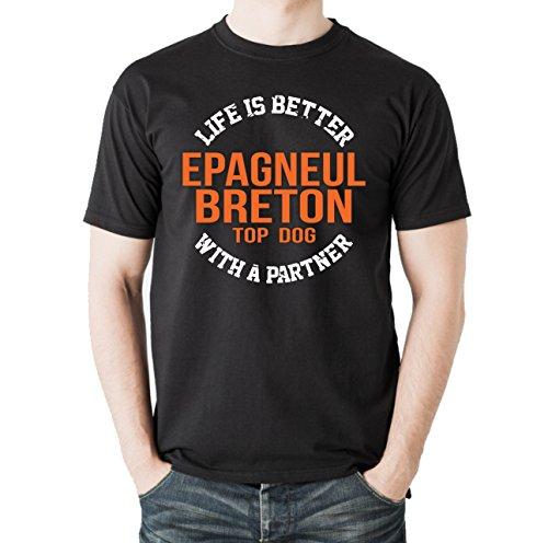 Siviwonder Unisex T-Shirt EPAGNEUL BRETON - LIFE IS BETTER PARTNER Hunde Schwarz