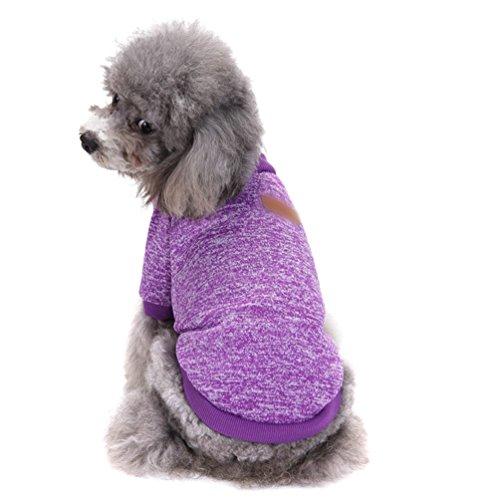 YiJee Haustier Hund Kleidung Kleine Hundchen Klassische Warme Pullover Lila M