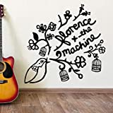 yaoxingfu 40 Colors Available Quote Wall Stickers Florence and The Machine House Decoration Vinyl Wall Decals Bird Birdcage Sticker Z85x83cm