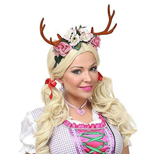 Kostüm Kopfbedeckung Märchen - Lively Moments Rentiergeweih mit Blumen auf Haarreif / Oktoberfest / Märchen Kostüm Zubehör
