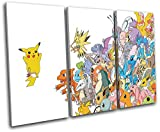 Bold Bloc Design - Pokemon Pikachu GO Anime For Kids Room 90x60cm TREBLE Canvas Art Print Box Framed Picture Wall Hanging - Hand Made In The UK - Framed And Ready To Hang