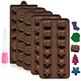 Kompanion 39 Piece Christmas Chocolate Mold Set, Christmas Theme Silicone Moulds, Ideal for Xmas Shaped Chocolate, Ice, Lotion Bars, Candy, Jelly, Candles, and Other DIY Products