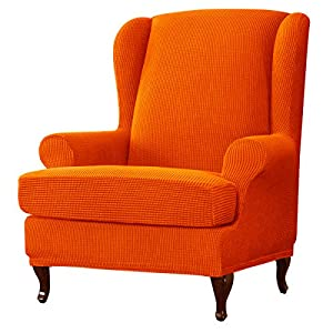 subrtex Ohrensessel Überzug Bezug Sesselhusse Elastisch Stretch Husse für Ohrensessel (Orange)