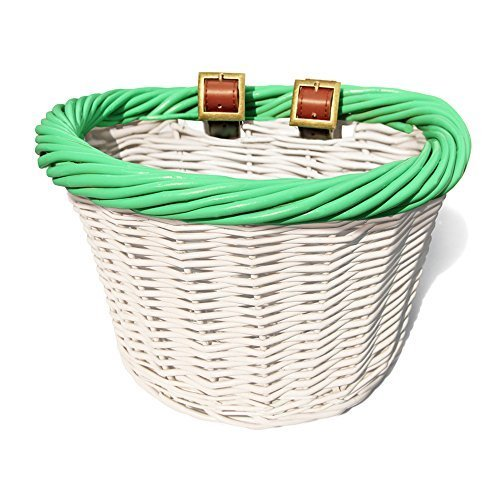 colorbasket 01488 Junior Front Handlebar Wicker Bike Basket, White with Green Trim by colorbasket -