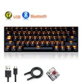 UrChoiceLtd Mechanical Keyboard, RK61 Wired / Wireless Bluetooth Keyboard 61 Keys LED Backlit