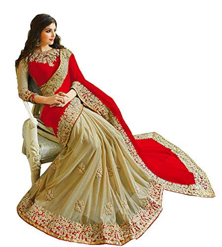 Bigben Textile Women's Georgette Saree With Blouse Piece(Bigben-02_Red_Free Size)