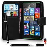 Microsoft Lumia 535 Prime Cuir NOIR Portefeuille Retourner Cas Couverture Poche Avec 2 DANS 1 Balle StyloToucher Style ROUGE Poussière Bouchon Écran Protecteur & Polissage Tissu SVL6 PAR SHUKAN®, (PORTEFEUILLE NOIR)