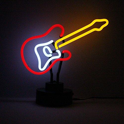 Icon Neon Skulptur für E-Gitarre, beleuchtet, Rot/Gelb