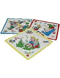 12 Stück Kinder Stoff Taschentücher Kindertaschentücher Set Größe 26x26 cm 100% Baumwolle Märchen Motive (Hänsel & Gretel) Design 7