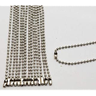 Amanaote Silvery 2.4 mm Diameter Ball Chain 250 mm Length Metal Bead Chain for Pendant by Amanaote