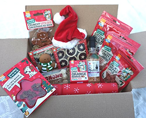 THE ULTIMATE LUXURY DOG CHRISTMAS HAMPER WITH TREATS TOYS HAT CARD & ROSE WINE