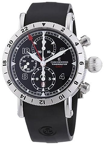 chronoswiss Timemaster GMT Homme Montre Automatique avec affichage Chronographe Cadran Noir et Bracelet Noir 7533G st-bk Rub