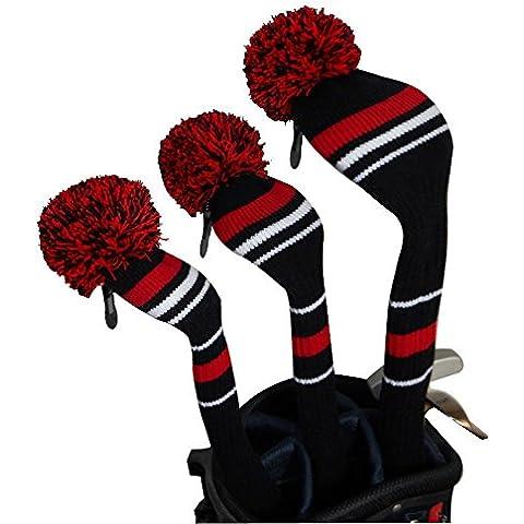 Los hombres de estilo vintage, negro/rojo/blanco Golf Pom Pom Headcovers para palos de golf conductor, Fairway Wood, híbrido (1# 3# 5#), Set de 3, Wahsable, anti-pilling, Antiarrugas, acrílico suave de punto, cuello largo, gran Pom Pom