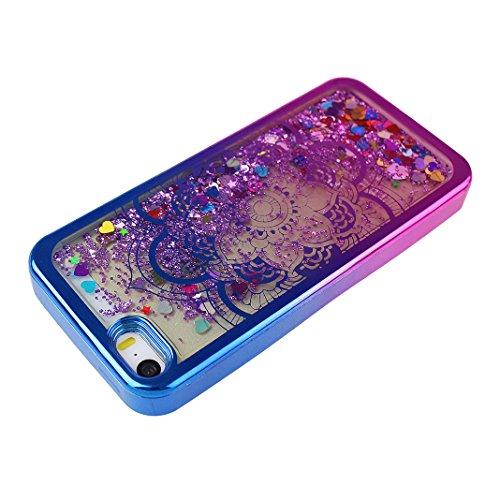 Étui Pour iPhone 5 5S SE, Asnlove Silicone TPU Housse Sables Mouvants Coque Transparent Cas Bling Cover Electroplated Case Pour iPhone 5/5S/SE, Campanule / Rose Mandala