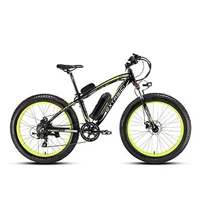 Cyrusher® Extrbici XF660 48V 500 Watt Schwarz Grün Mans Elektro Fahrrad Mountain Bike 7 Geschwindigkeiten Elektro Fahrrad Hydraulik Scheibenbremsen