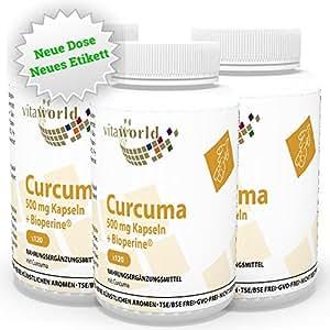 3er Pack Vita World Curcuma 500mg + Bioperine 360 Vegi Kapseln Apotheken Herstellung