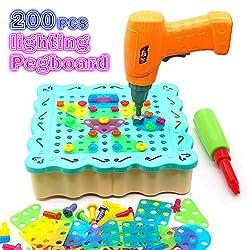 Nuheby 3D Puzzle Steckspiel Mosaik Kinder DIY Leuchtend Pegboard Bausteine mit Schraubendreher Schrauben Konstruktionsspielzeug Pädagogisches Spielzeug 3 4 5 6 Jahren Junge Mädchen (200 Stück)