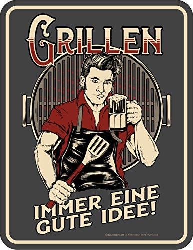 Original RAHMENLOS® BBQ-Blechschild: Grillen - immer eine gute Idee!