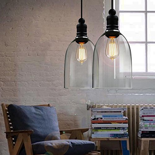 hahaemall intérieur vintage lampe à suspension Mini pendentif lumière Big Bell Abat-jour en verre (Ampoules non incluses)