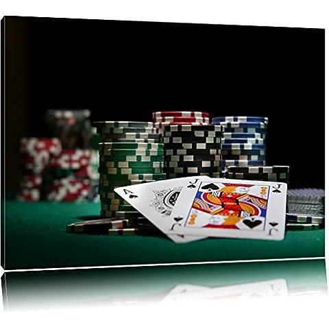 Dark Tavolo da poker con le carte a Las Vegas Formato: tela 100x70auf, enormi Immagini XXL Completamente Pagina con la barella, stampe d'arte su murale con telaio, più conveniente che la pittura o pittura ad olio, nessun poster o locandina